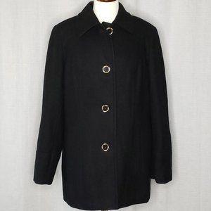 St John's Bay Women's Black Wool Coat Size Large